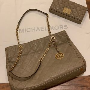 Michael Kors Quilted Leather Handbag & Wallet Set